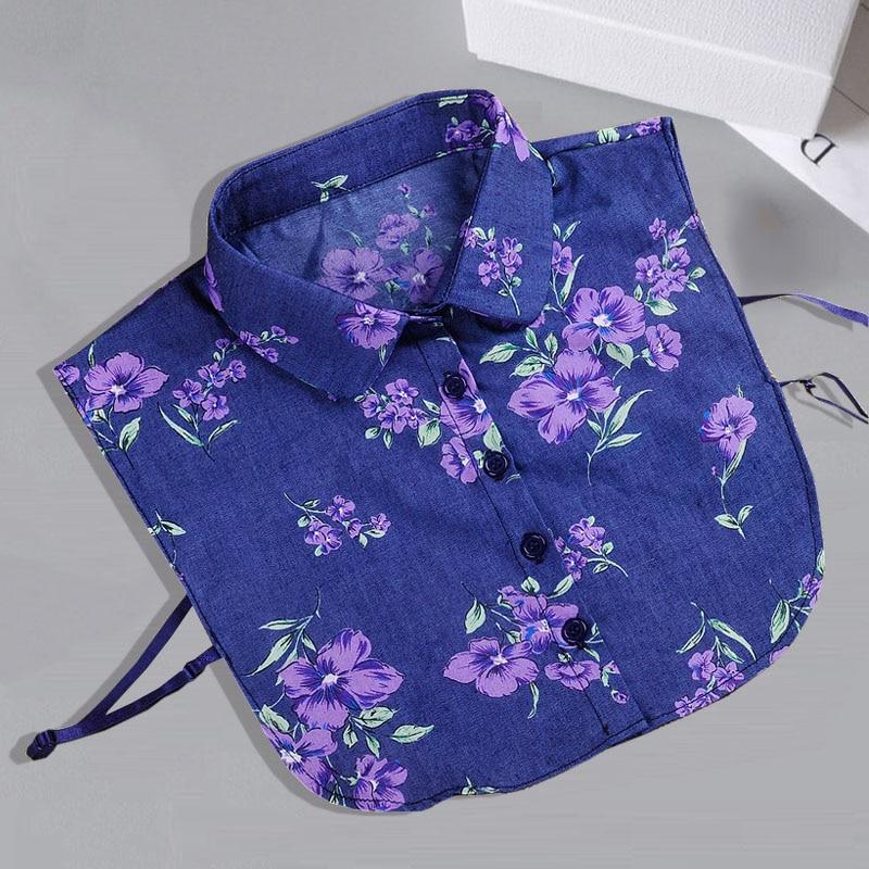 Denim Detachable Collars For Women Tie Vintage Flower Print Fake Collar Lady Col False Collar Shirt Lapel Blouse Top Women