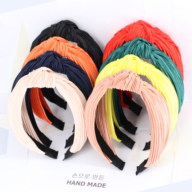 Korea's Retro New Crease Head Top Knot Wide-brimmed Headband Fashion Personality Cloth Hair Accessories