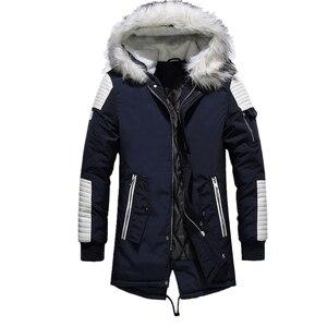 Image 5 - Fgkks masculino parka algodão grosso jaqueta 2020 inverno nova moda quente jaquetas de lã casacos de gola de pele dos homens parkas