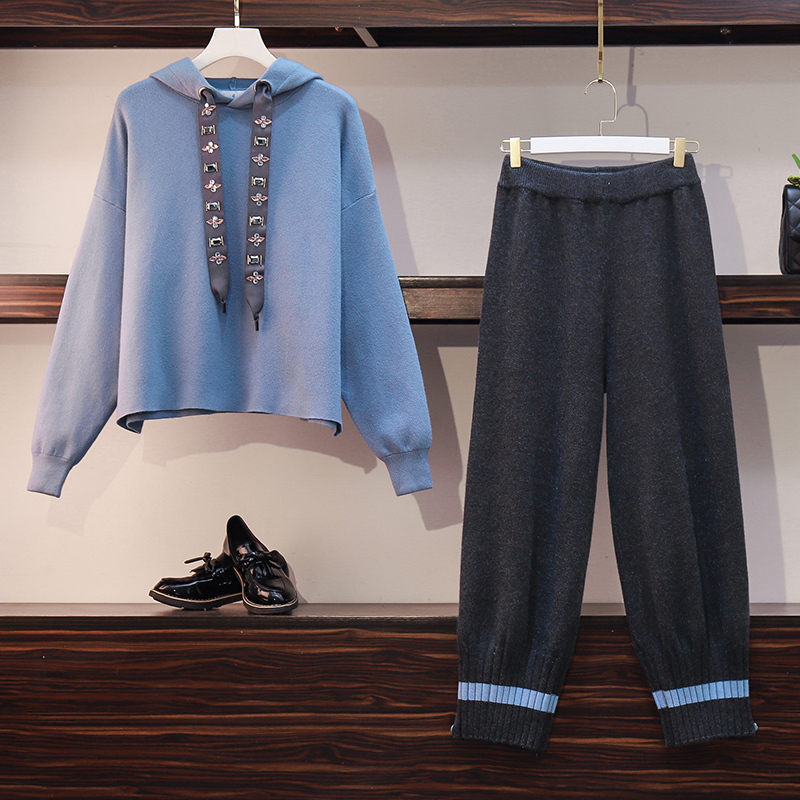 knitted sweater 2 Piece Set Women outfits Long Sleeve Hoodies Tops and wide leg Pant Suits Tracksuit knit Casual Female clothing 23
