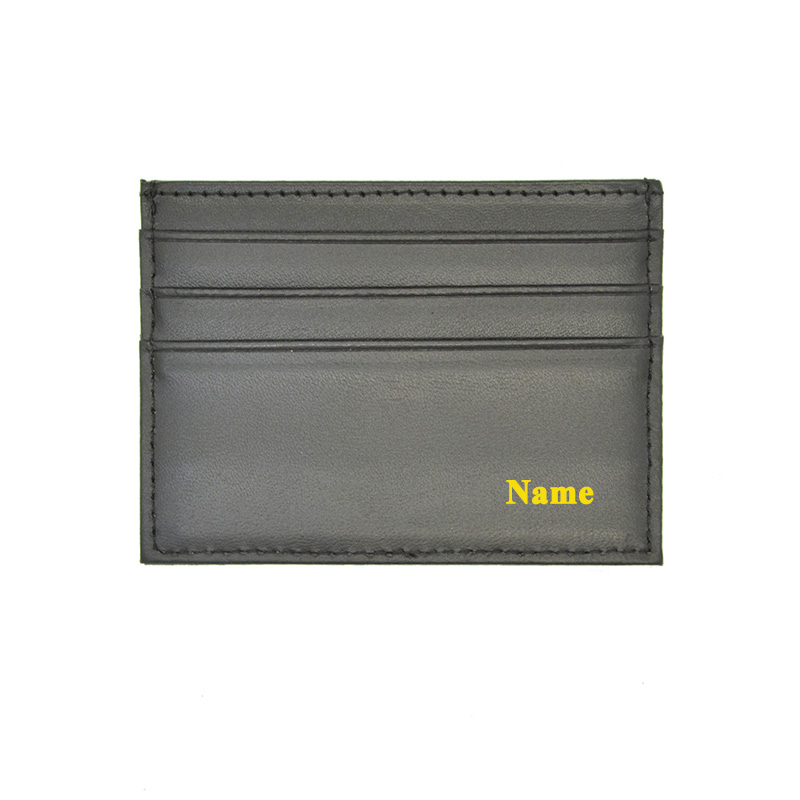 Customized Genuine Leather Card Holder With Names LOGOS  Gold Silver Embossed Engraved Color Printed Personalized Card Case