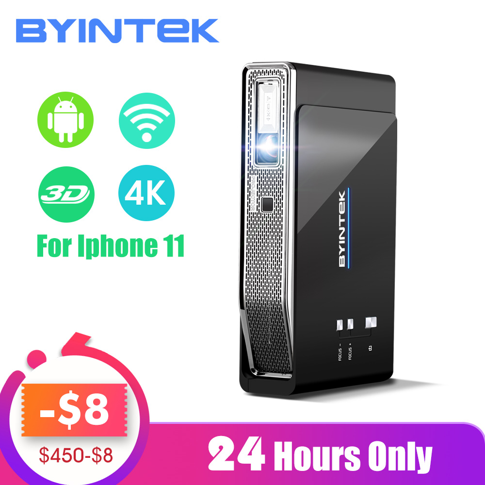 Byintek ufo r15 300 polegada inteligente android wi fi vídeo led portátil mini dlp 3d projetor para iphone 11 completo hd 1080 p teatro em casa 4 k