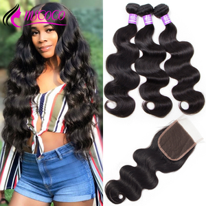 Mscoco Hair Brazilian Body Wave Bundles With Closure Remy Human Hair Weave 3 Bundles 30 Inch Bundles With Closure(China)