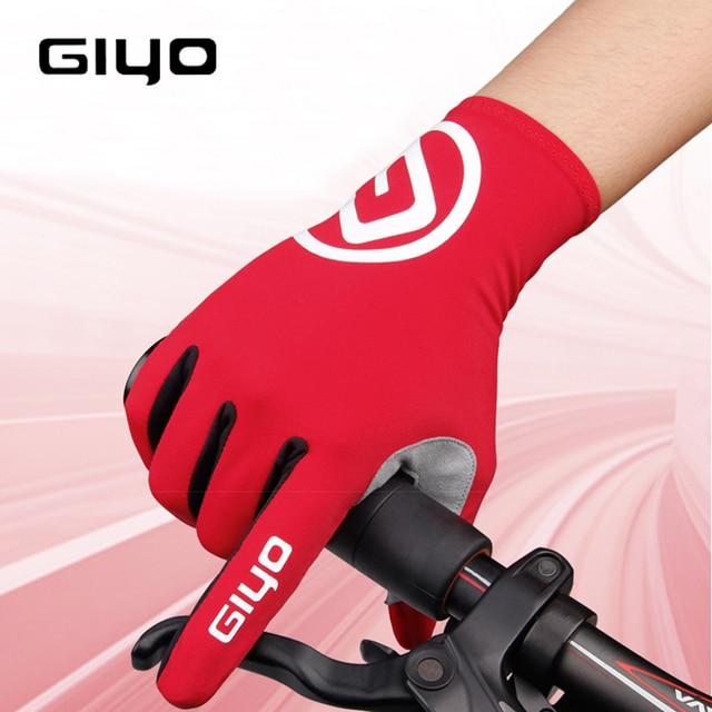 Giyo luvas de ciclismo longo dedos completos esportes tela toque gel esportes das mulheres dos homens verão longo dedo luvas mtb equitação estrada corrida 1