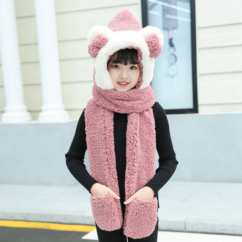 Kids 3 In 1 Warm Plush Winter Hat Cute Bowknot Bear Ears Scarf Gloves Hoodie Cap Y1AC