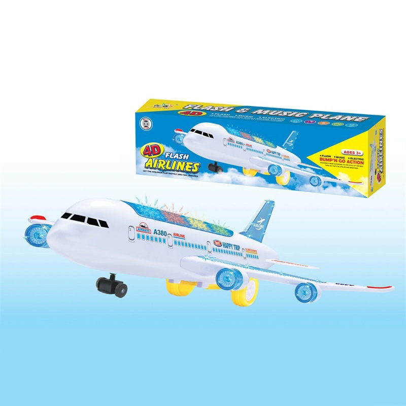 Foreign Trade Children Model Toy Wholesale Electric Universal Airplane Music 3D Lamp Everbright Aircraft Stall Hot Selling