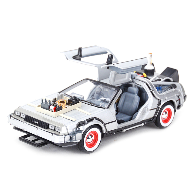 Welly 1:24 DMC-12 DeLorean Time Machine Back to the Future Car Static Die Cast Vehicles Collectible Model Car Toys 1