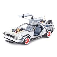Welly-máquina de tiempo de Regreso al futuro, vehículo estático fundido a presión, modelo de coche coleccionable, juguetes, DMC-12, DeLorean, 1:24