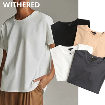 Withered Summer T shirt Women England Style Simple Solid O-Neck Cotton Match Basic Harajuku Tshirt 1