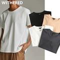 Welken Sommer T shirt Frauen England Stil Einfache Feste Oansatz Baumwolle Match Grund Harajuku T-shirt Camisetas Verano Mujer 2021
