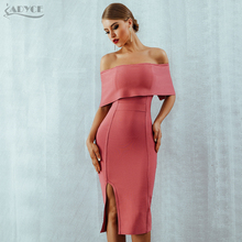 Adyce 2020 yeni yaz kadın Bodycon bandaj elbise Slash boyun kapalı omuz Midi Club elbise ünlü akşam parti elbise Vestidos