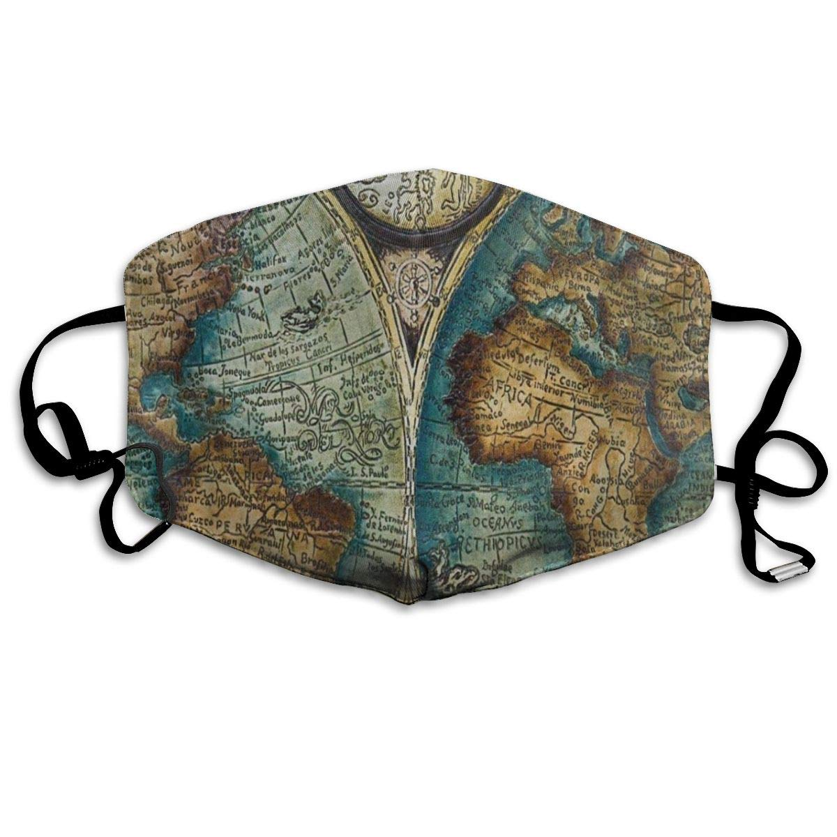 Old World Map Art Vintage Dust Mouth Mask Reusable Anti-Dust Face Mask Adjustable Earloop Skin Protection