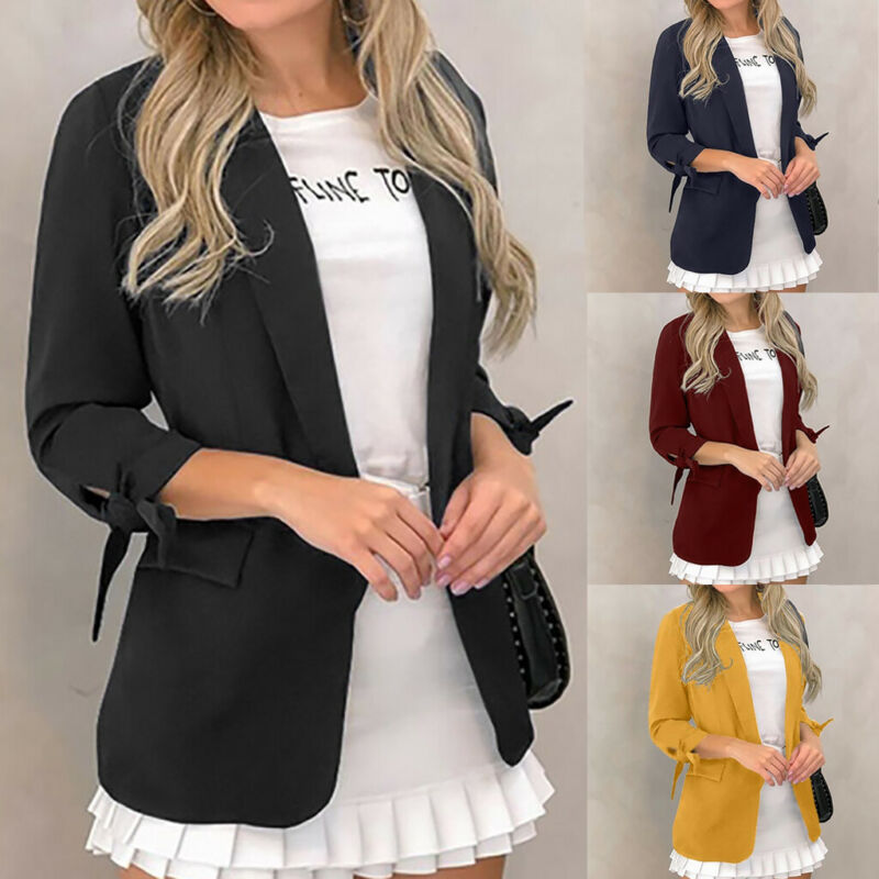 PowerFul-LOT Fashion Womens Suit Jacket Ladies Blazer Cardigan Solid Color Long Sleeve Pocket Coat Outerwear Casual Trench Workwear Tops