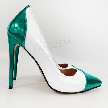 LAIGZEM Colorful 4 Seasons Women Heels Pumps Slip on Patent Stiletto Basic Dress Shoes Woman Tacones Zapatos Large Size 38 45 47