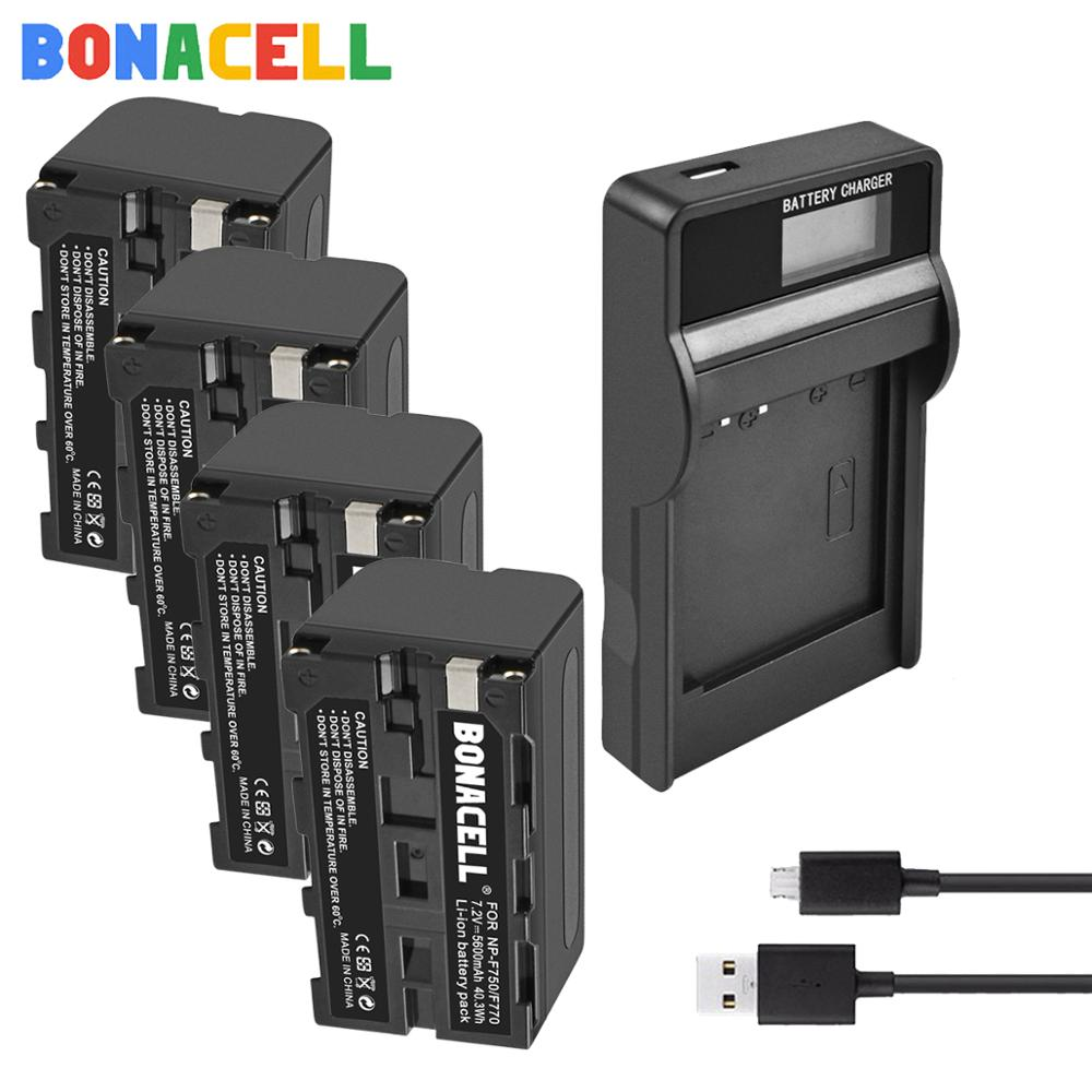 Bonacell 5600mAh NP-F770 NP-<font><b>F750</b></font> NPF770 NPF750 <font><b>Batteries</b></font> +LCD Charger for Sony NP-F550 NP-F770 NP-<font><b>F750</b></font> F960 F970 Camera <font><b>battery</b></font> image