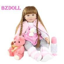 Muñecas de juguete Reborn de silicona suave de 60cm para niña, princesa de pelo largo, bebés pequeños, Boneca, regalo de cumpleaños y navidad