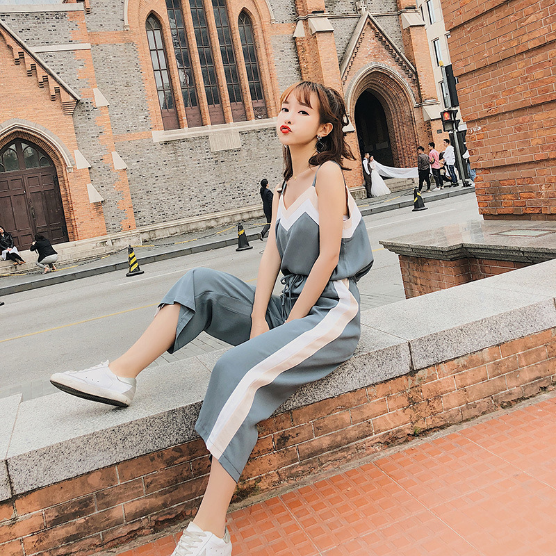 [Dowisi] 2018 Summer New Style WOMEN'S Dress Versitile Fashion Strapped Dress Loose Pants Two-Piece Set F6404
