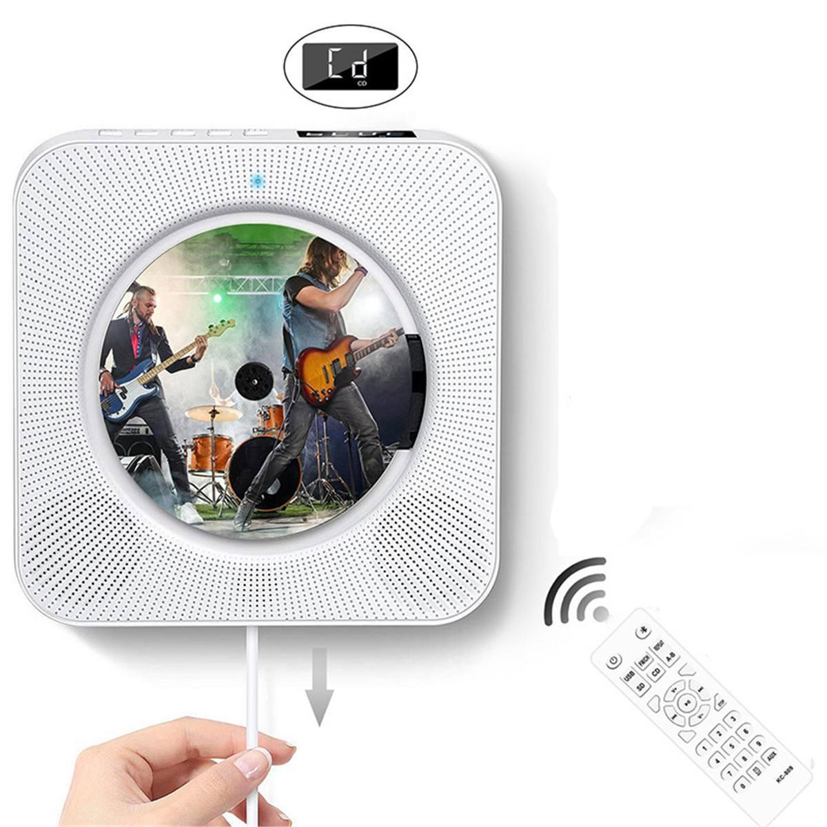 Lecteur CD 240V mural bluetooth Portable Audio maison Boombox avec télécommande Radio FM haut-parleurs HiFi intégrés USB MP3
