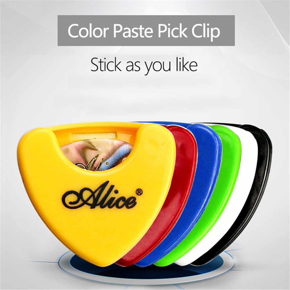 Alice Guitar Pick Holder Large Capacity Plastic Plectrum Case with Self Adhesive Sticker for Guitar Parts Guitar Plectrum Holder