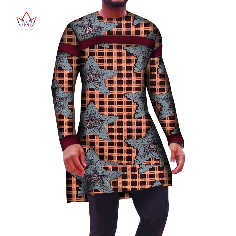 New Fashion Long Sleeve Shirts Dashiki African Clothes Men Long Top Shirts Bazin Riche Mens Shirts African Clothing WYN951
