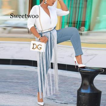 Women Solid Skinny Tassels Jeans Spring Autumn Stretchy Blue High Waist  Denim Long Pencil Pants Trousers Black