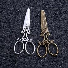 6 pçs/lote 25*60mm duas cores antigo metal liga grande tesoura charme pingentes jóias encantos