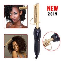 Alisador de cabelo elétrico pente varinha curling ferros curler pente quente alisamento elétrico pente liga titânio