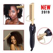 Electric Comb Irons Hair-Curler-Comb Straightener Titanium-Alloy Wand