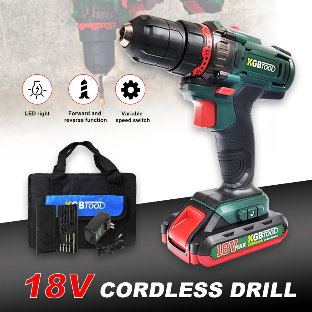 KGB Cordless Impact Drill 18V Lithium-Ion Battery Operated Rechargeable Power Tools 2-Speed With Toolbox
