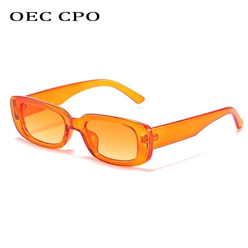 OEC-MANAGEMENT CPO Kleine Quadrat Sonnenbrille Frauen Kunststoff Rahmen Orange Gradienten Sonnenbrille Weibliche Trendy Marke Designer Brillen UV400