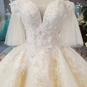Image 5 - LS11087 light champagne wedding gowns flare half sleeves sweetheart lace up back ball gown from real factory formelle robes