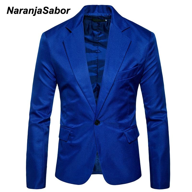 NaranjaSabor Autumn Men's Casual Blazer New Men Slim Fit Solid Color Suit Single Button Blazer Male Brand Clothing M~3XL N620