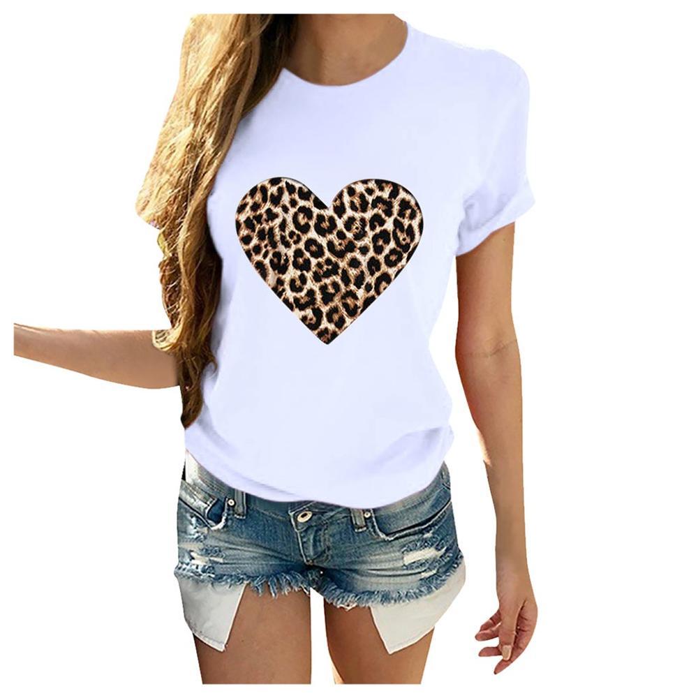 Женская футболка с леопардовым принтом и сердечками, Повседневная белая свободная футболка с коротким рукавом, лето 2020