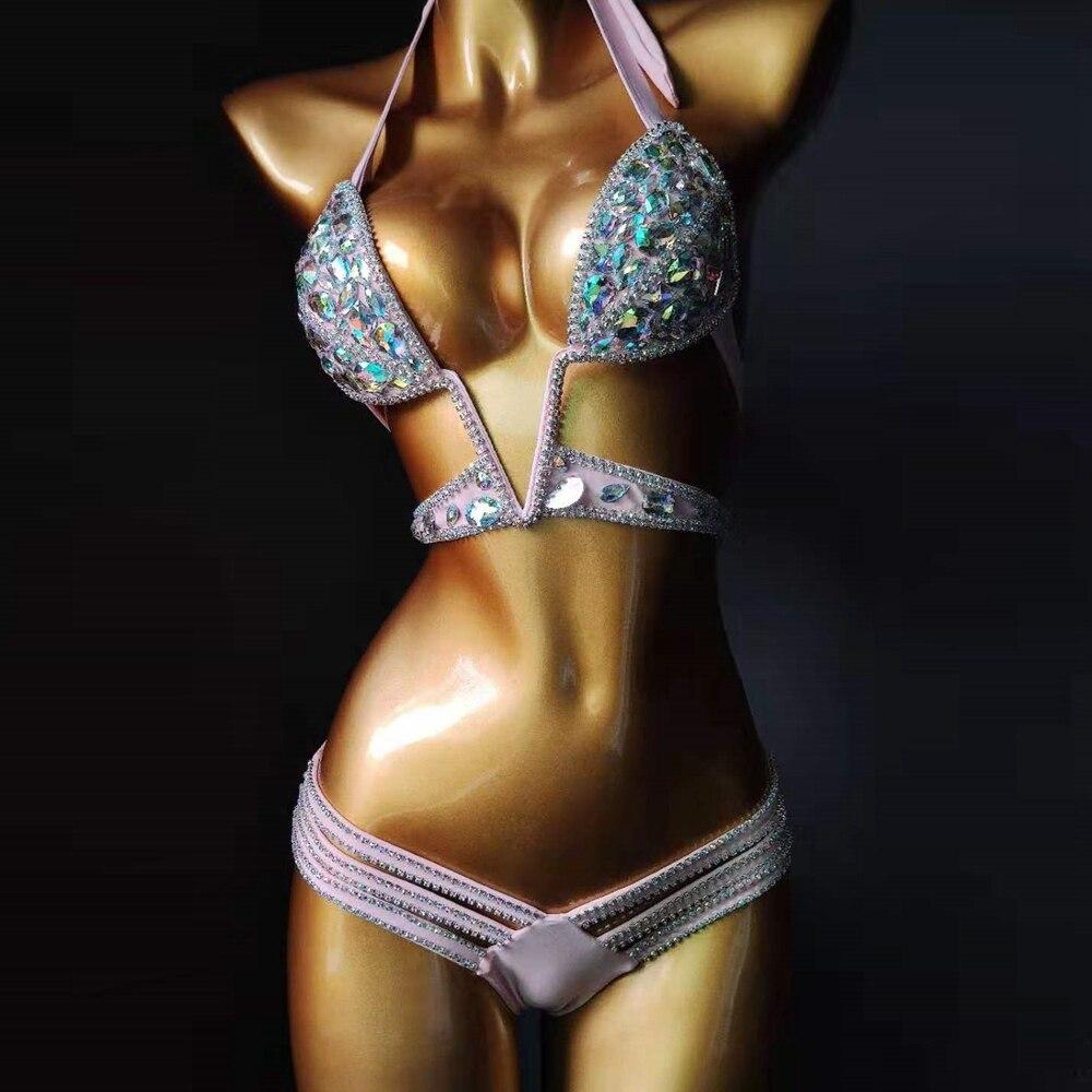 2019 Sexy Berads Women Summer Gold Black Blue Silver Pink White Swimwear Sandy Beach Party Bling Fashion Club Glue Bodysuit