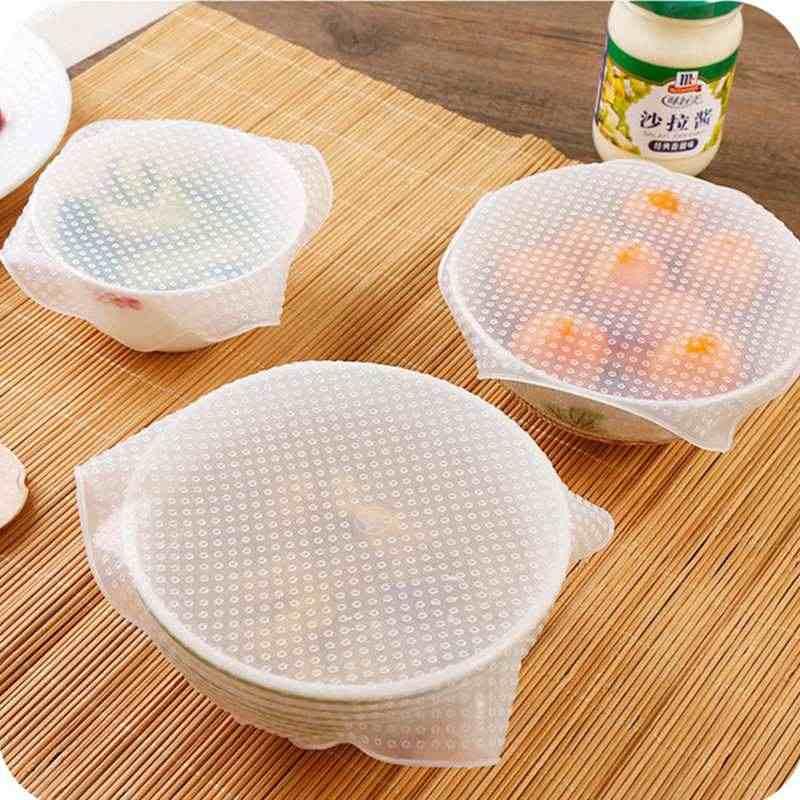 Dapat Digunakan Kembali Silikon Wrap Segel Makanan Segar Menjaga Bungkus Tutup Penutup Vakum Makanan Bungkus Mangkuk Penutup Rumah Dapur Alat