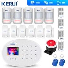 KERUI sistema de alarma antirrobo W20, Panel táctil inalámbrico de 2,4 pulgadas, WiFi, GSM, aplicación RFID, Mini Sensor PIR móvil, sirena