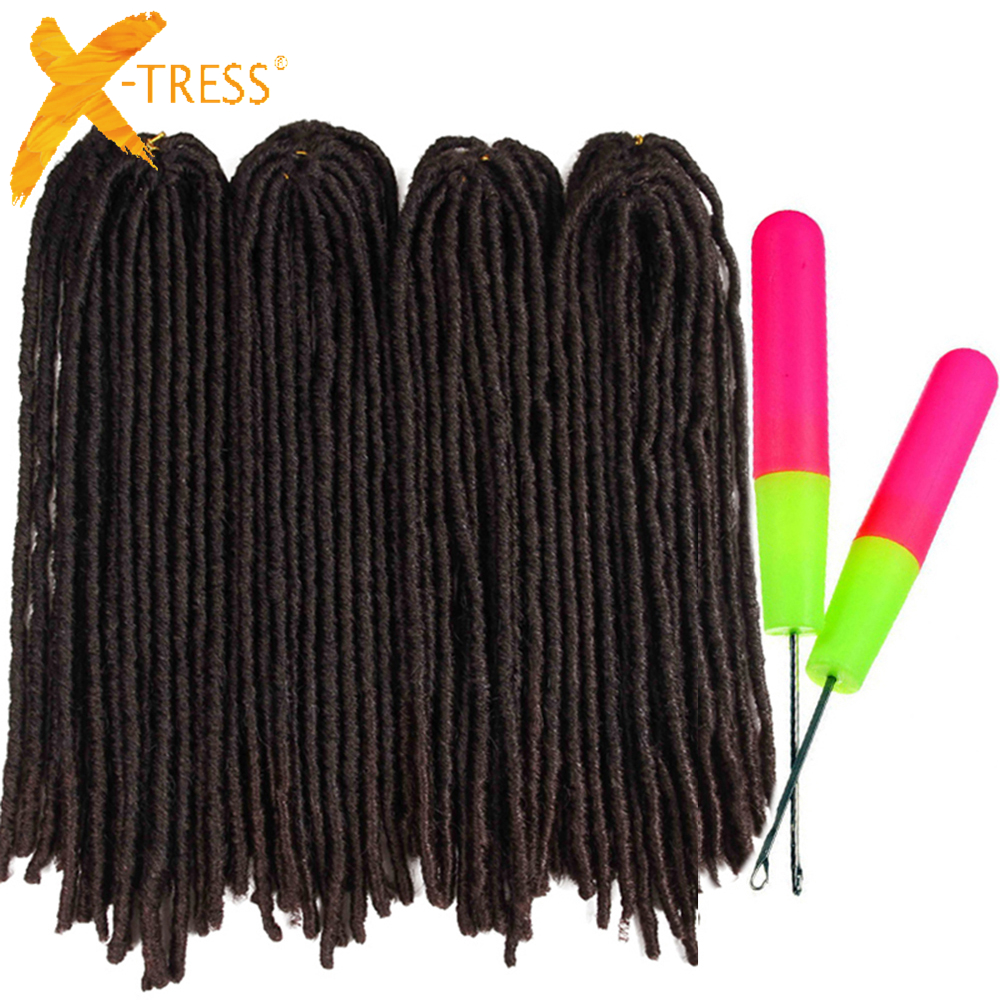 Synthetic Braiding Hair Extensions Dreadlocks 18-26inch Ombre Brown Color X-TRESS Soft Straight Faux Locs Crochet Braids Hair