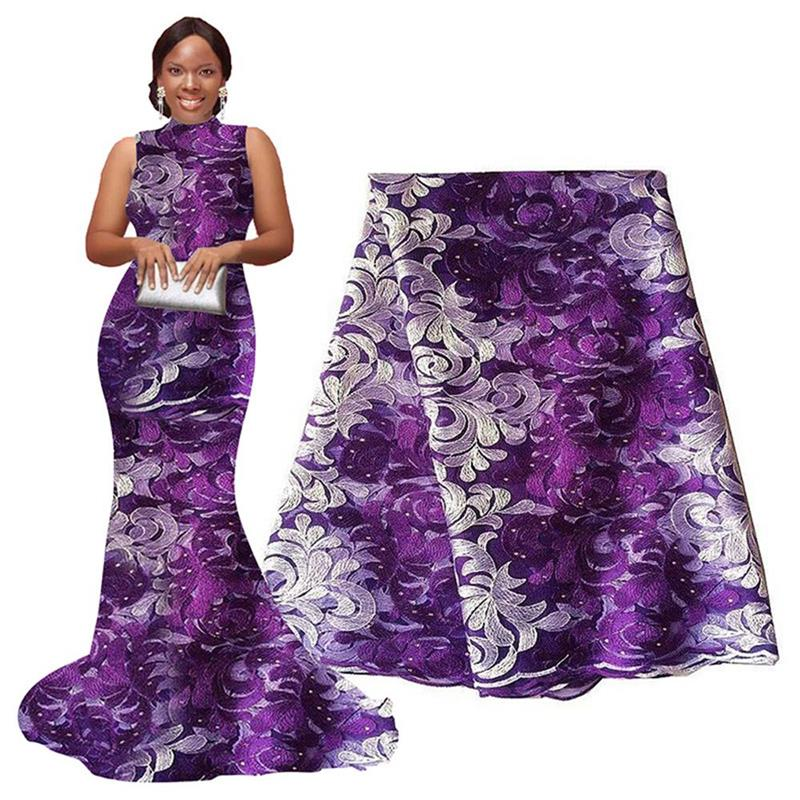 African Lace Fabric 2020 Purple White Nigerian Lace French Lace Fabric Embroidered and Rhinestones Guipure Cord Lace