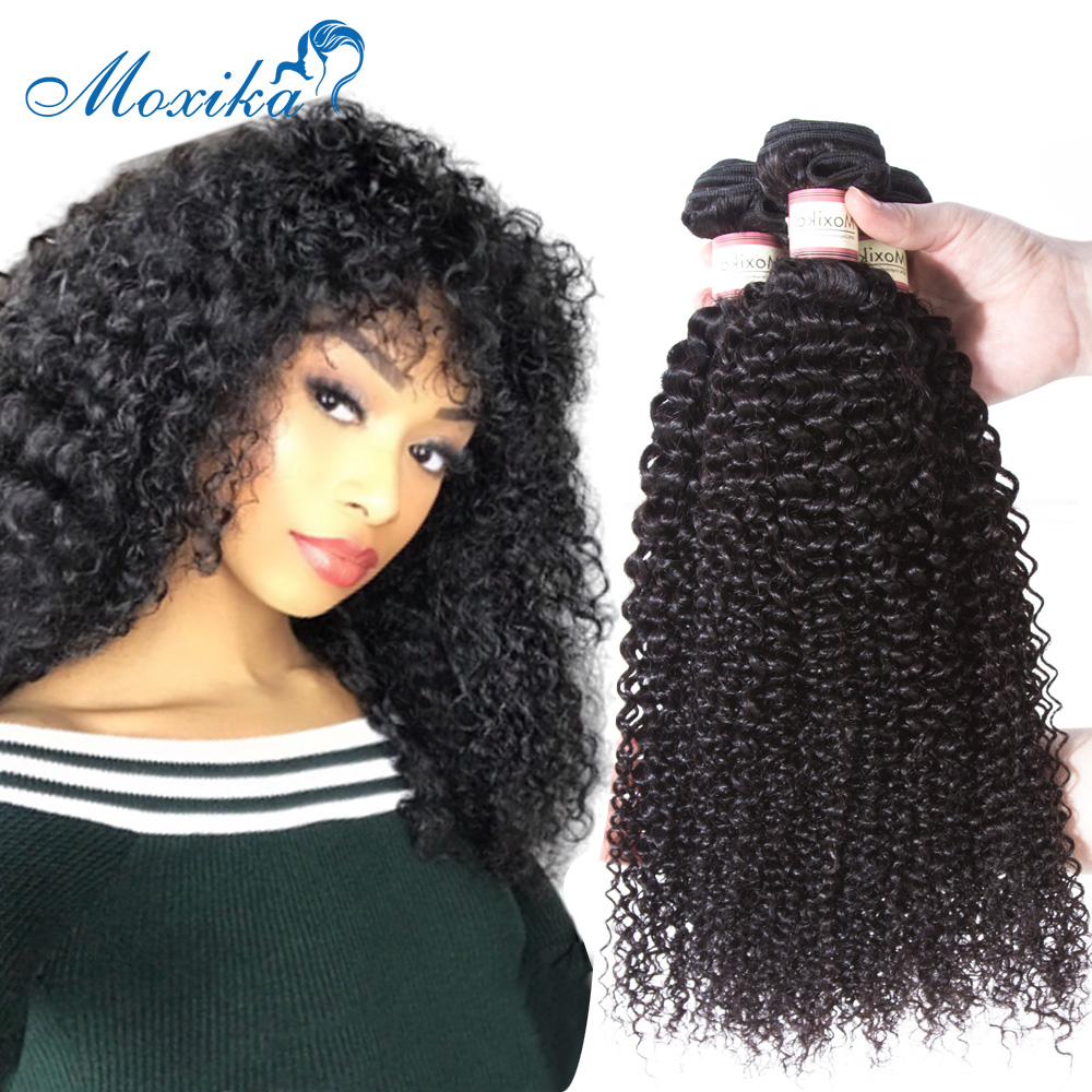 Moxika Hair Mongolian Kinky Curly Hair 1/3 Bundles 8-26 Inches Remy Human Hair Weave Hair Extensions Natural Black