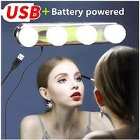 Eitelkeit Spiegel Lichter Make-Up Hollywood Stile Führte Licht Kit USB und Batterie Betrieben mit 4 Led-lampen und 3 Saug tassen Lampen