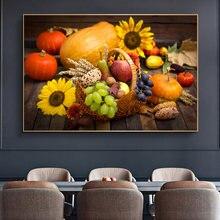 Póster decorativo de cocina para decoración de verduras y frutas, cuadro de comida verde sobre lienzo, pintura de pared artística para comedor