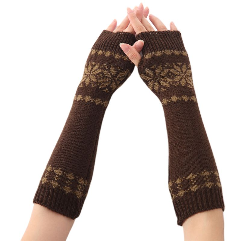 Women Men Unisex Snowflake Pattern Jacquard Fingerless Gloves Winter Crochet Knit Arm Warmers Mittens With Thumbhole Gift LX9E