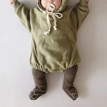 가을 아기 Bodysuits 작은 곰 귀 아기 소녀 Bodysuit 벨벳 어린이 Hoody Bodysuit 아이 옷 (양말이 없다)