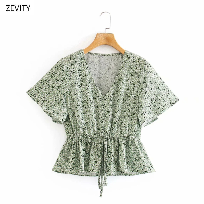 New 2020 women sweet v neck floral print hem ruffles smock blouse female short sleeve lace up shirt chic slim blusas tops LS6788