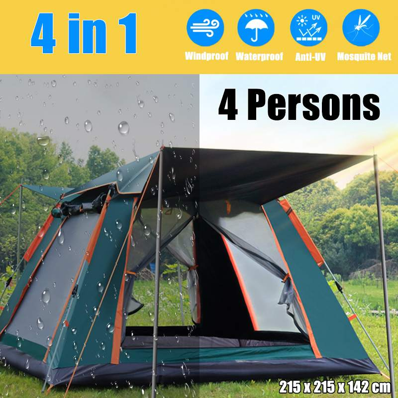 Family Camping Automatic Tent 4 Person Large Space Tents Automatic Opening Waterproof Four Sides Breathable Outdoor Hiking Tent