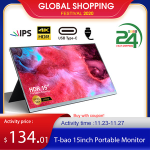 T-bao 15'' Portable Monitor with HD 1080P IPS Panel Support Screen Expansion for Switch/PS5/PS4/PC/Laptop Gaming Monitor EU Plug