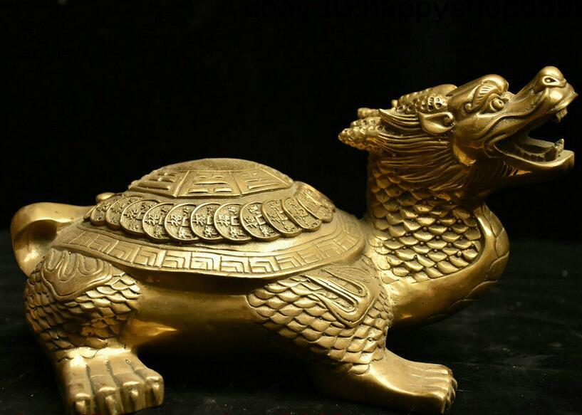 Китайские медные латунные фэншуй Дракон-черепаха Loong черепаха Бог чудовище монета со статуей