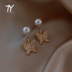 Elegant and exquisite crystal butterfly pendant earrings for women's Korean luxury jewelry fashion pearl multi wear earrings