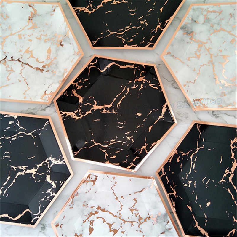 120pcs Marble Party Decor Dessert Plates Large 10inch Blush Pink Rose Foil Paper Dishes Black Rose Gold Birthday Party Deocr Disposable Party Tableware Aliexpress