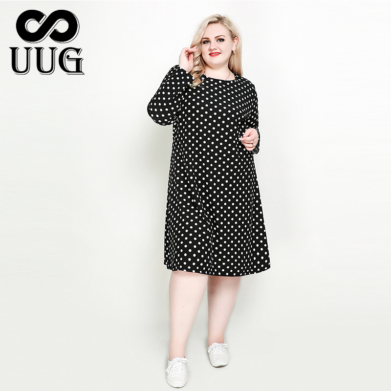 UUG Vintage <font><b>Plus</b></font> <font><b>Size</b></font> Polka Dot <font><b>Dresses</b></font> for Women 3XL 4XL 5XL <font><b>Dress</b></font> Large <font><b>Sizes</b></font> Ladies Long Sleeve O Neck Aline Midi <font><b>Dress</b></font> Loose image